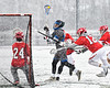 Baldwinsville Bees David Steria (12) knocks the ball away from Cicero-North Syracuse Northstars Justin Griffith (23) in Section III Boys Lacrosse action at Michael Bragman Stadium in Cicero, New York on Thursday, April 19, 2018.  Baldwinsville won 9-6.