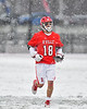 Baldwinsville Bees defender Daniel Fuller (18) trots to his positiong before playing the Cicero-North Syracuse Northstars in a Section III Boys Lacrosse game at Michael Bragman Stadium in Cicero, New York on Thursday, April 19, 2018.