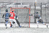 Baldwinsville Bees Peter Fiorni III (13) shoots and scores against the Cicero-North Syracuse Northstars in Section III Boys Lacrosse action at Michael Bragman Stadium in Cicero, New York on Thursday, April 19, 2018.  Baldwinsville won 9-6.