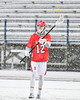 Baldwinsville Bees David Steria (12) passing the ball against the Cicero-North Syracuse Northstars in Section III Boys Lacrosse action at Michael Bragman Stadium in Cicero, New York on Thursday, April 19, 2018.  Baldwinsville won 9-6.