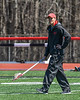 Baldwinsville Bees Head Coach Matt Wilcox watching over pre-game warm ups at the Pelcher-Arcaro Stadium in Baldwinsville, New York on Saturday, April 21, 2018.