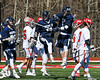 Homer Trojans players celebrating a goal against the Baldwinsville Bees in Section III Boys Lacrosse action at the Pelcher-Arcaro Stadium in Baldwinsville, New York on Saturday, April 21, 2018.  Homer won 13-10.