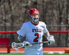 Baldwinsville Bees Tanner McCaffery (2) in pre-game drills before playing the Homer Trojans in a Section III Boys Lacrosse game at the Pelcher-Arcaro Stadium in Baldwinsville, New York on Saturday, April 21, 2018.