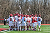 Baldwinsville Bees huddle up before playing the Homer Trojans in a Section III Boys Lacrosse game at the Pelcher-Arcaro Stadium in Baldwinsville, New York on Saturday, April 21, 2018.