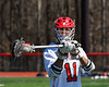 Baldwinsville Bees Cole Peters (11) warming up before palying the Homer Trojans in a Section III Boys Lacrosse game at the Pelcher-Arcaro Stadium in Baldwinsville, New York on Saturday, April 21, 2018.
