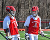 Baldwinsville Bees David Steria (12) and Ben Dwyer (5) during pre-game warm ups before playing the Homer Trojans in a Section III Boys Lacrosse game at the Pelcher-Arcaro Stadium in Baldwinsville, New York on Saturday, April 21, 2018.