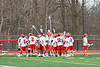 Baldwinsville Bees huddle up before playing the Syracuse Cougars in a Section III Boys Lacrosse game at the Pelcher-Arcaro Stadium in Baldwinsville, New York on Tuesday, May 1, 2018.