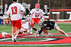 Baldwinsville Bees Michael Tangredi (26) battles with Syracuse Cougars Ryan Eccles (37) during the opening face-off in Section III Boys Lacrosse action at the Pelcher-Arcaro Stadium in Baldwinsville, New York on Tuesday, May 1, 2018.  Baldwinsville won 15-3.