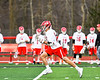 Baldwinsville Bees Peter Fiorni III (13) running with the ball against the Syracuse Cougars in Section III Boys Lacrosse action at the Pelcher-Arcaro Stadium in Baldwinsville, New York on Tuesday, May 1, 2018.  Baldwinsville won 15-3.