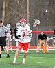 Baldwinsville Bees Adam Davis (3) passing the ball against the Syracuse Cougars in Section III Boys Lacrosse action at the Pelcher-Arcaro Stadium in Baldwinsville, New York on Tuesday, May 1, 2018.  Baldwinsville won 15-3.