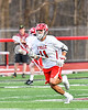 Baldwinsville Bees Cole Peters (11) running with the ball against the Syracuse Cougars in Section III Boys Lacrosse action at the Pelcher-Arcaro Stadium in Baldwinsville, New York on Tuesday, May 1, 2018.  Baldwinsville won 15-3.