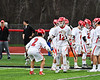 Baldwinsville Bees David Steria (12) being introduced before playing the West Genesee Wildcats in a Section III Boys Lacrosse game at the Pelcher-Arcaro Stadium in Baldwinsville, New York on Thursday, May 3, 2018.