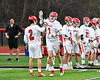 Baldwinsville Bees Justin Hunter (7) being introduced before playing the West Genesee Wildcats in a Section III Boys Lacrosse game at the Pelcher-Arcaro Stadium in Baldwinsville, New York on Thursday, May 3, 2018.
