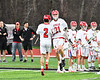 Baldwinsville Bees Brandon Mimas (21) being introduced before playing the West Genesee Wildcats in a Section III Boys Lacrosse game at the Pelcher-Arcaro Stadium in Baldwinsville, New York on Thursday, May 3, 2018.