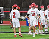 Baldwinsville Bees Peter Fiorni III (13) being introduced before playing the West Genesee Wildcats in a Section III Boys Lacrosse game at the Pelcher-Arcaro Stadium in Baldwinsville, New York on Thursday, May 3, 2018.