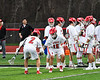 Baldwinsville Bees Daniel Fuller (18) being introduced before playing the West Genesee Wildcats in a Section III Boys Lacrosse game at the Pelcher-Arcaro Stadium in Baldwinsville, New York on Thursday, May 3, 2018.