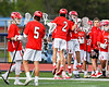 Baldwinsville Bees goalie J.J. Johnson (24) being introduced before playing the Liverpool Warriors in a Section III Boys Lacrosse game at Liverpool High School Stadium in Liverpool, New York on Thursday, May 10, 2018.