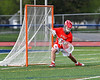 Baldwinsville Bees goalie J.J. Johnson (24) during pre-game warm-up before playing the Liverpool Warriors in a Section III Boys Lacrosse game at Liverpool High School Stadium in Liverpool, New York on Thursday, May 10, 2018.
