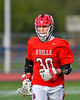 Baldwinsville Bees player warming up before playing the Liverpool Warriors in a Section III Boys Lacrosse game at Liverpool High School Stadium in Liverpool, New York on Thursday, May 10, 2018.