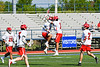 Baldwinsville Bees Spencer Wirtheim (10) and Cole Peters (11) celebrate a goal against the Fayetteville-Manlius Hornets in Section III Class A Semi-Finals Boys Lacrosse action at Michael Bragman Stadium in Cicero, New York on Thursday, May 24, 2018.  Fayetteville-Manlius won 8-7.