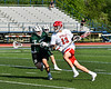 Baldwinsville Bees Peter Fiorni III (13) driving with the ball against the Fayetteville-Manlius Hornets in Section III Class A Semi-Finals Boys Lacrosse action at Michael Bragman Stadium in Cicero, New York on Thursday, May 24, 2018.  Fayetteville-Manlius won 8-7.