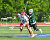 Baldwinsville Bees Tanner McCaffery (2) wins a face-off against Fayetteville-Manlius Hornets Zachary VanValkenburgh (37) in Section III Class A Semi-Finals Boys Lacrosse action at Michael Bragman Stadium in Cicero, New York on Thursday, May 24, 2018.  Fayetteville-Manlius won 8-7.