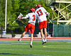 Baldwinsville Bees Peter Fiorni III (13) celebrates a goal by Adam Davis (3) against the Fayetteville-Manlius Hornets in Section III Class A Semi-Finals Boys Lacrosse action at Michael Bragman Stadium in Cicero, New York on Thursday, May 24, 2018.  Fayetteville-Manlius won 8-7.