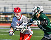 Baldwinsville Bees David Steria (12) defending against Fayetteville-Manlius Hornets Nicholas Papa (3) in Section III Class A Semi-Finals Boys Lacrosse action at Michael Bragman Stadium in Cicero, New York on Thursday, May 24, 2018.  Fayetteville-Manlius won 8-7.