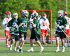 Fayetteville-Manlius Hornets Michael Howe (34) gets congratulated after scoring a goal against the Baldwinsville Bees in Section III Class A Semi-Finals Boys Lacrosse action at Michael Bragman Stadium in Cicero, New York on Thursday, May 24, 2018.  Fayetteville-Manlius won 8-7.