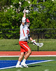 Baldwinsville Bees Michael Tangredi (26) celebrates his goal against the Fayetteville-Manlius Hornets in Section III Class A Semi-Finals Boys Lacrosse action at Michael Bragman Stadium in Cicero, New York on Thursday, May 24, 2018.  Fayetteville-Manlius won 8-7.