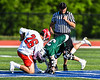 Baldwinsville Bees Michael Tangredi (26) facing off against Fayetteville-Manlius Hornets Zachary VanValkenburgh (37) in Section III Class A Semi-Finals Boys Lacrosse action at Michael Bragman Stadium in Cicero, New York on Thursday, May 24, 2018.  Fayetteville-Manlius won 8-7.