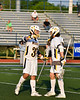 West Genesee Wildcats Jack Howes (37) celebrates his goal against the Fayetteville-Manlius Hornets with teammate Max Rosa (13) in Section III Class A Finals Boys Lacrosse action at Michael Bragman Stadium in Cicero, New York on Wednesday, May 30, 2018.  West Genesee won 12-10.