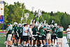 Fayetteville-Manlius Hornets huddle up during a time out against the West Genesee Wildcats in Section III Class A Finals Boys Lacrosse action at Michael Bragman Stadium in Cicero, New York on Wednesday, May 30, 2018.  West Genesee won 12-10.