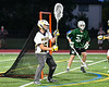West Genesee Wildcats goalie Luke Staudt (15) comes up with a ground ball against the Fayetteville-Manlius Hornets in Section III Class A Finals Boys Lacrosse action at Michael Bragman Stadium in Cicero, New York on Wednesday, May 30, 2018.  West Genesee won 12-10.