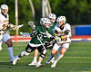 Fayetteville-Manlius Hornets Zachary Vanvalkenburgh (37) with the ball against West Genesee Wildcats Max Rosa (13) in Section III Class A Finals Boys Lacrosse action at Michael Bragman Stadium in Cicero, New York on Wednesday, May 30, 2018.  West Genesee won 12-10.
