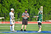 Fayetteville-Manlius Hornets Zachary Vanvalkenburgh (37) and West Genesee Wildcats Patrick Stanistreet (25) await the official to start the second quarter of the Section III Class A Finals Boys Lacrosse game at Michael Bragman Stadium in Cicero, New York on Wednesday, May 30, 2018.  West Genesee won 12-10.