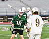 Fayetteville-Manlius Hornets Kyle Gilroy (10) defending against West Genesee Wildcats Ryan Sheehan (9) in Section III Class A Finals Boys Lacrosse action at Michael Bragman Stadium in Cicero, New York on Wednesday, May 30, 2018.  West Genesee won 12-10.
