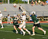 Fayetteville-Manlius Hornets defenders trying to stop West Genesee Wildcats Noah Sabatino (20) in Section III Class A Finals Boys Lacrosse action at Michael Bragman Stadium in Cicero, New York on Wednesday, May 30, 2018.  West Genesee won 12-10.