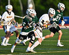 Fayetteville-Manlius Hornets Zachary Vanvalkenburgh (37) running with the ball against the West Genesee Wildcats in Section III Class A Finals Boys Lacrosse action at Michael Bragman Stadium in Cicero, New York on Wednesday, May 30, 2018.  West Genesee won 12-10.