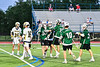 Fayetteville-Manlius Hornets players celebrate a goal by Michael Howe (34) against the West Genesee Wildcats in Section III Class A Finals Boys Lacrosse action at Michael Bragman Stadium in Cicero, New York on Wednesday, May 30, 2018.  West Genesee won 12-10.