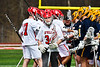 Baldwinsville Bees goalie Daniel Stehle (34) heading to his net against the Victor Blue Devils in Section III Boys Lacrosse action at the Pelcher-Arcaro Stadium in Baldwinsville, New York on Friday, April 6, 2019.