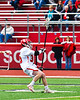Baldwinsville Bees Carter Gates (35) passing the ball against the Victor Blue Devils in Section III Boys Lacrosse action at the Pelcher-Arcaro Stadium in Baldwinsville, New York on Friday, April 6, 2019.  Victor won 9-7.