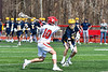 Baldwinsville Bees Spencer Wirtheim (10) winds up for a shot at the Victor Blue Devils net in Section III Boys Lacrosse action at the Pelcher-Arcaro Stadium in Baldwinsville, New York on Friday, April 6, 2019.  Victor won 9-7.