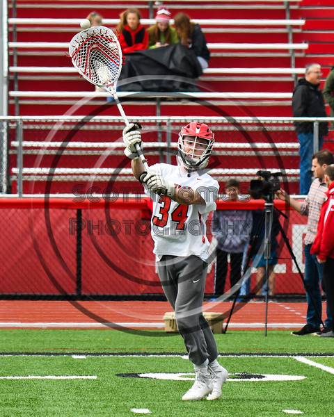 Baldwinsville Bees goalie Daniel Stehle (34) in pre-game warm ups before playing the Victor Blue Devils in a Section III Boys Lacrosse game at the Pelcher-Arcaro Stadium in Baldwinsville, New York on Friday, April 6, 2019.