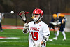 Baldwinsville Bees Garrett Petrelli (19) in pre-game warm ups before playing the Victor Blue Devils in a Section III Boys Lacrosse game at the Pelcher-Arcaro Stadium in Baldwinsville, New York on Friday, April 6, 2019.