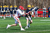 Baldwinsville Bees Spencer Wirtheim (10) fires the ball at the Victor Blue Devils net in Section III Boys Lacrosse action at the Pelcher-Arcaro Stadium in Baldwinsville, New York on Friday, April 6, 2019.  Victor won 9-7.