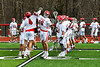 Baldwinsville Bees Spencer Wirtheim (10) being introduced before playing the Victor Blue Devils in a Section III Boys Lacrosse game at the Pelcher-Arcaro Stadium in Baldwinsville, New York on Friday, April 6, 2019.