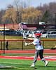 Baldwinsville Bees goalie Daniel Stehle (34) passing the ball against the Victor Blue Devils in Section III Boys Lacrosse action at the Pelcher-Arcaro Stadium in Baldwinsville, New York on Friday, April 6, 2019.  Victor won 9-7.