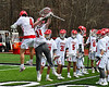Baldwinsville Bees goalie Daniel Stehle (34) being introduced before playing the Victor Blue Devils in a Section III Boys Lacrosse game at the Pelcher-Arcaro Stadium in Baldwinsville, New York on Friday, April 6, 2019.