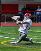 Baldwinsville Bees goalie Daniel Stehle (34) makes a save against the Victor Blue Devils in Section III Boys Lacrosse action at the Pelcher-Arcaro Stadium in Baldwinsville, New York on Friday, April 6, 2019.  Victor won 9-7.